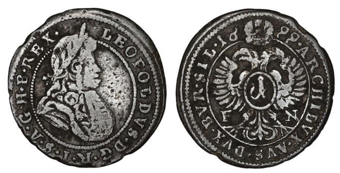 02543e336 Austria. Leopold I. AR 1 Kreuzer 1699. Fine+, Scarce
