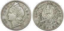 Dominican Republic. AR Peso 1897. Choice VF