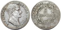 World Coins - FRANCE. NAPOLEON BONAPARTE as The First Consul (1794-1804). AR 5 FRANCS L' AN XI Q. VF/about VF