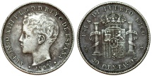 World Coins - Puerto Rico. Alfonso XIII. AR 20 Centavos 1895. Toned Choice VF
