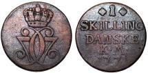 World Coins - Denmark. Christian VII. CU 1 Skilling 1771 KM. Fine+