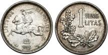 World Coins - Lithuania. Republic. Silver 1 Litai 1925. Nice AU.