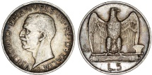 World Coins - Kingdom of Italy. Silver 5 Lire 1927 R. XF+, toned.