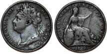 World Coins - Great Britain. George IV. CU 1 Farthing 1822. Fine+