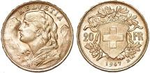 Swiss. Gold 20 Francs Helvetia 1947. UNC