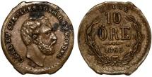 World Coins - Sweden. kingdom. Carl XV. AE 10 Ore 1865 L.A. XF, RARE Counterfeit!