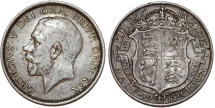 World Coins - Great Britain. king George V. AR Half Crown 1915. Toned XF