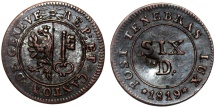 World Coins - Swiss Cantons. City of Geneva. Nice 6 Deniers 1819. XF with C/M