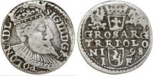 World Coins - Poland. Rzeczypospolita. Olkusz. king Sigismund III. AR 3 Gross 1598, about VF.