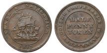 World Coins - Canada. NOVA SCOTIA. Copper Half Penny Token 1813. Choice VF