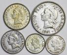 Dominican Republic: Nice Lot of 5 Coins: 5 Centimos to 1/2 Peso 1959-1963. XF-Choice AU