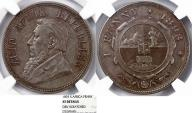 World Coins - South Africa. Peter Kruger. AE 1 Penny 1893. NGC XF details, rare date