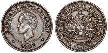 World Coins - Republic of Haiti , SINCE 1863. AE 5 Cents 1863. Nice Choice XF