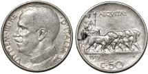 World Coins - Italy. Vittorio Emanuele III. NI 50 Centesimi 1919R. VF