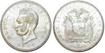 World Coins - Ecuador. Republic. AR 5 Sucres 1944 MO. XF