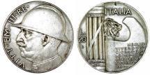 World Coins - Italy. Kingdom. Vittorio Emanuelle III. Commemorartive AR 20 Lire 1928 R (AN VI). Choice VF. SCARCE!