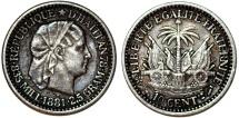 World Coins - Republic of Haiti (1863- ). AR 10 Cents AN78 (1881). Toned Choice AU