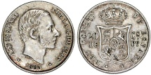 World Coins - Phillipines as Spanish Colony. Alfonso XII. AR 20 Centavo 1885. Nice XF