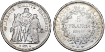 World Coins - France. II Republic. Silver 5 Francs 1849 A. VF