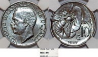 World Coins - Italy. Vittorio Emanuele III. BRZ 10 Centesimos 1925. NGC MS62 BN