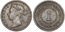 World Coins - Straits Settlements. Victoria. AE 1 Cent 1877. aVF