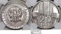 "World Coins - Poland. PRL (1945-1989). CuNi 20 zl. Pattern 'PROBA' 1973. "" Pillars"". NGC MS66!"
