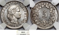 World Coins - Switzerland. Federation issue. CU-NI 5 Rappen 1928B. NGC MS62