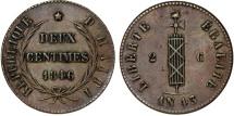 World Coins - Republic of Haiti. CU 2 Centimes AN 43 (1846). Choice VF.