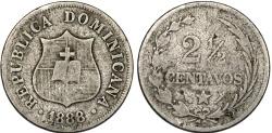 World Coins - Dominican Republic. CU-NI 2 1/2 Centavos 1888A. Fine