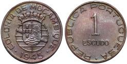 World Coins - Mozambique as Portuguese Colony. AE 1 Escudo 1945. Choice XF