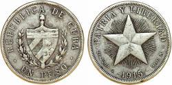 World Coins - Cuba. Republic. Silver 1 Peso 1915. VF toned