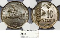 World Coins - Lithuania. Republic. Nice 10 Centas 1925. NGC MS64