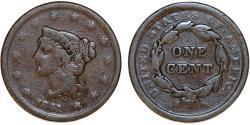 Us Coins - USA. Braided Hair Cent 1841. VG