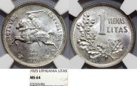 World Coins - Lithuania. Republic. Silver 1 Litai 1925. NGC MS64!