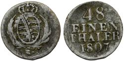 World Coins - GERMANY. Saxony. Friedrich August I of Albertine Line (1691-1694). AR 1/48 Taler 1807H. Fine+, toned.
