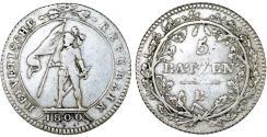 World Coins - Switzerland. Bern. AR 5 Batzen 1800 B. aVF, scarce issue