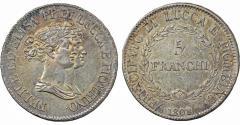 World Coins - Italy. Lucca. Elisa Bonaparte & Felice Baciocchi (1805-1814). AR 5 Franchi 1808/7. Choice XF/AU