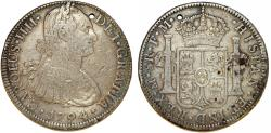 World Coins - Mexico. Charles IV of Spain. AR 8 Reales 1794 Mo-FM. Toned XF