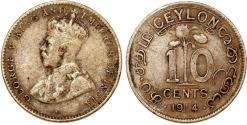 World Coins - British Colony: Ceylon. King George V. AR 10 Cent 1914. VF