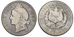 World Coins - Dominican Republic. AR 1/2 Peso 1897. VF