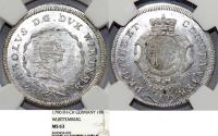 World Coins - Germany: WURTTEMBERG. Karl Eugen (1744 - 1793). RARE 10 Kreuzer 1790 FH-CH. NGC MS63!