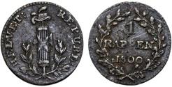 World Coins - Switzerland. Helvetian Republic. Bern. AR 1 Rappen 1800. VF, toned