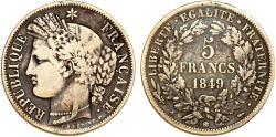 World Coins - France. II Republic (1848-1852). AR 5 Francs 1849 BB. VF