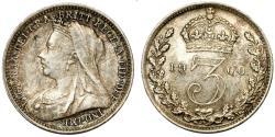 World Coins - Great Britain. Empress Victoria. AR 3 Pence 1900. Choice  XF/AU