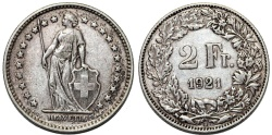 World Coins - Switzerland. Federation. AR 2 Franc 1921. aXF, toned