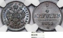 World Coins - Austria. Imperial Period. Franz Joseph I. CU 1/4 Kreuzer 1851 A. NGC MS62.BN