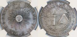 World Coins - PERU, Confederación Perú-Boliviana: (South Peru). AR 8 Reales 1838 MS. Cuzco mint. NGC XF45, toned