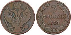 World Coins - Imperial Russia. Coinage for Poland. Cu 3 Grosze 1840 MW. aVF