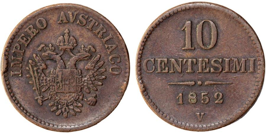 World Coins - Austrian rule Italian States. Venice/Lombnardy. AE 10 Centesimi 1852 V. XF