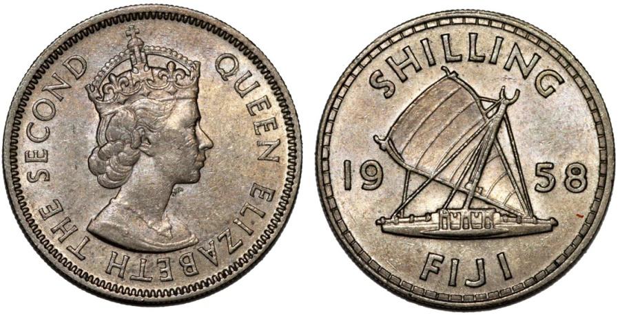 World Coins - British Administration. Fiji. Elizabeth II.  Shilling 1958. Toned UNC